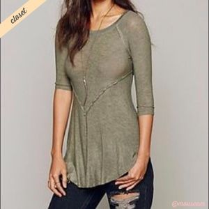 [Intimately FP] Green Weekend Layering Gauzy Top